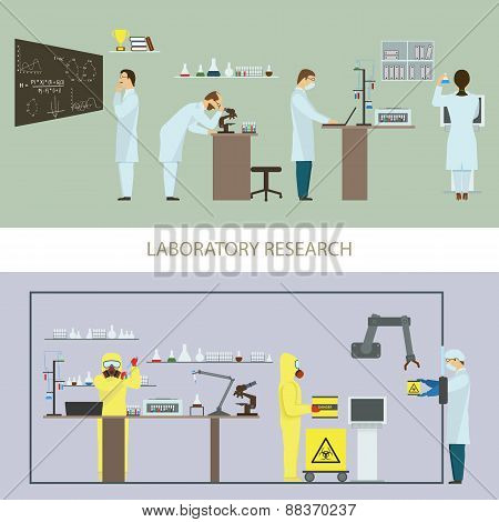 Laboratory Research by Group of Scientists.