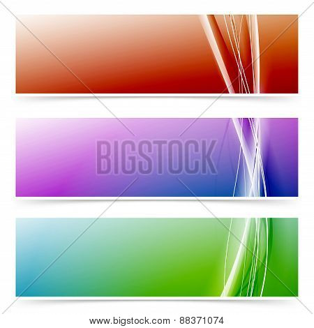 Abstract Neon Line Colorful Header Footer Set