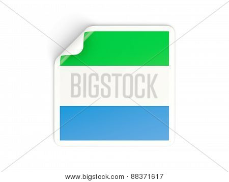 Square Sticker With Flag Of Sierra Leone