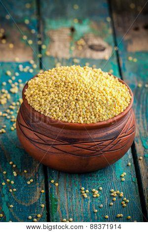 Organic Millet Seeds In A Ceramic Bowl