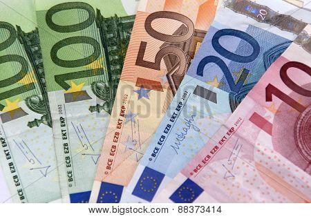 The European Banknotes Of 100, 50, 20, 10 Euro