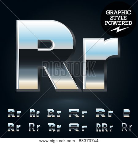 Vector set of glossy and shiny metal steel font. Letter R