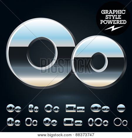 Vector set of glossy and shiny metal steel font. Letter O