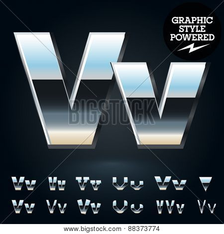 Vector set of glossy and shiny metal steel font. Letter V
