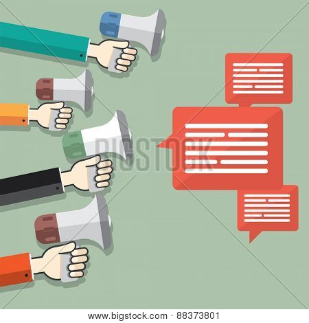 Flat design stylish vector illustration megaphone with dialog boxes