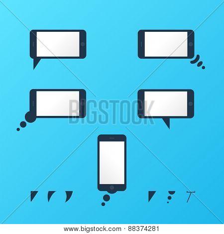 Gadget smartphone empty speech bubbles set