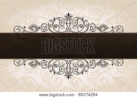 calligraphic brown banner with decorative background. Vintage patterned border