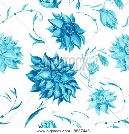 Turquoise Watercolor Floral Pattern