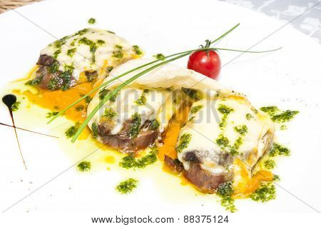 meat baked with cheese