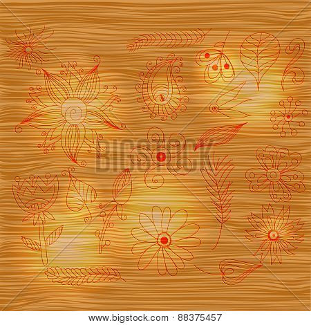 Wood pattern light texture with brown color and flowers set.