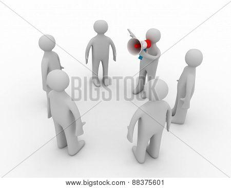 3d orator speaks in megaphone on white background