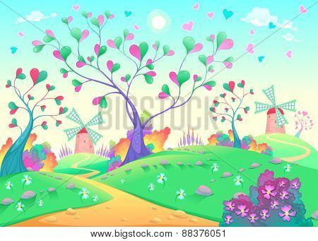 Springy landscape with windmills. Funny cartoon and vector illustration.
