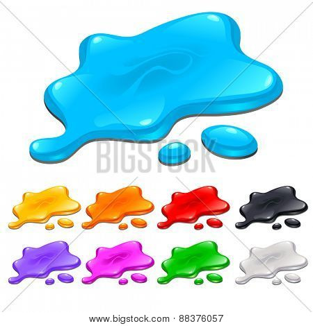 Spots in different colors. Isolated objects.