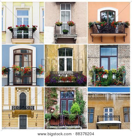 Photo collage with nine balcony pictures