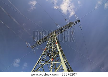 High Voltage Line And Dark Blue Sky