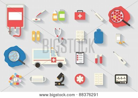 Medical vector icons set. Healthcare infographic elements.