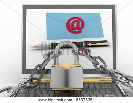 Laptop with incoming letters via email protected lock. 3d render illustration