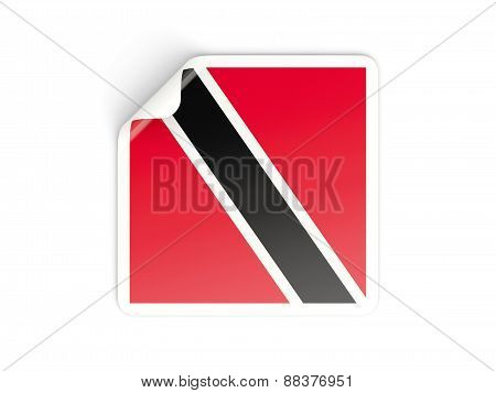 Square Sticker With Flag Of Trinidad And Tobago