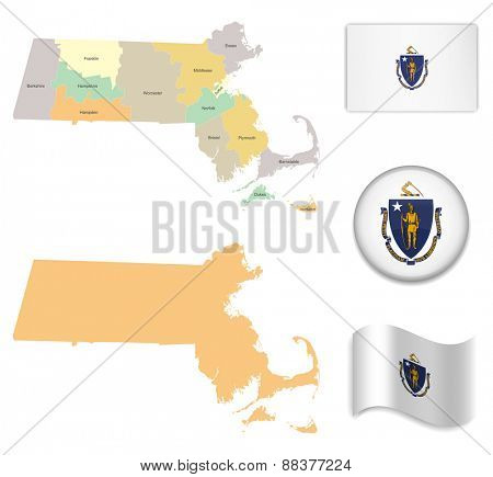 High Detailed Massachusetts Map and Flag Icons