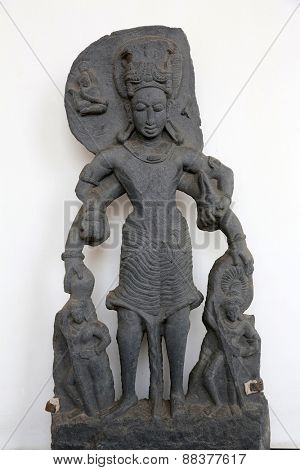 KOLKATA, INDIA - FEBRUARY 15: Vishnu, from 11th century found in Chaitanpur, Bardhaman, West Bengal now exposed in the Indian Museum in Kolkata, on February 15, 2014