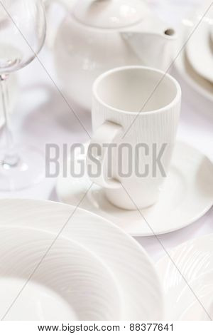 Ceramic tableware on the table