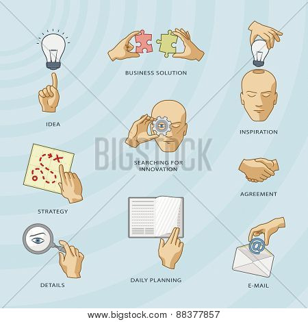 Set Of Business Pictographs.