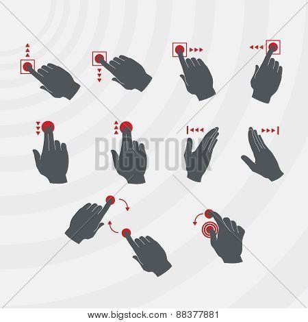 Common Smartphone Gestures Set.
