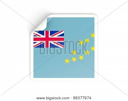 Square Sticker With Flag Of Tuvalu