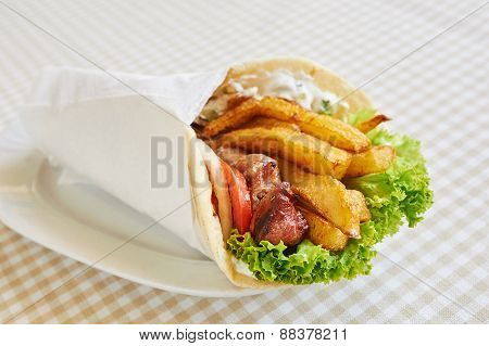 chicken or pork wrap sandwich