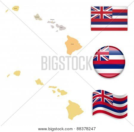 High Detailed Hawaii Map and Flag Icons