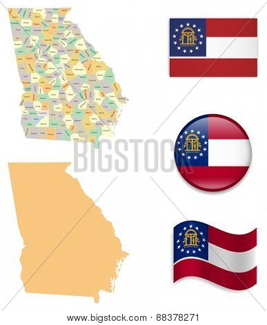 High Detailed Georgia Map and Flag Icons