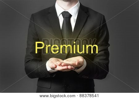 Businessman In Suit Serving Gesture Hands Open Premium