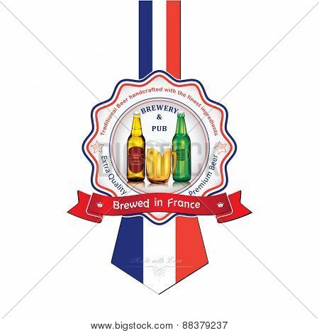 Brewed in France - Beer label advertising