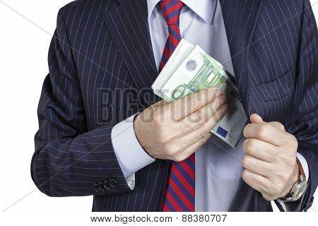 Businessman bribe concept