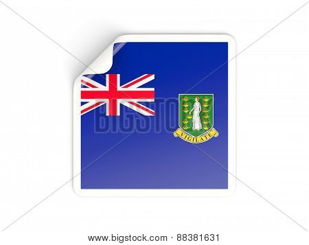 Square Sticker With Flag Of British Virgin Islands