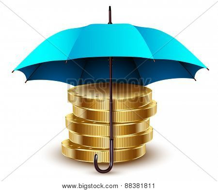 Umbrella and money. Business concept. abstraction. Illustration.