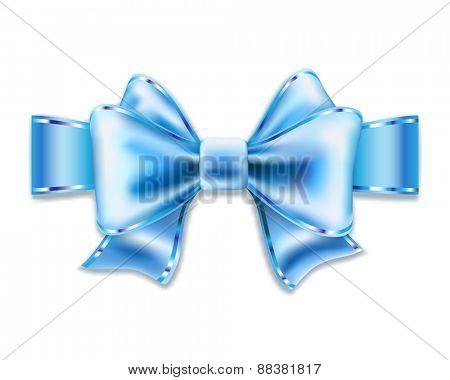 Blue bow isolated on white. illustration.
