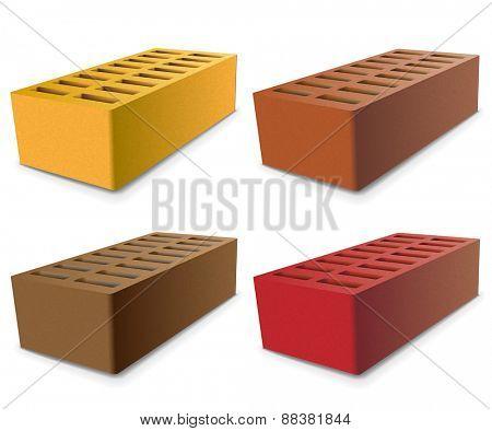 Set Brick isolated on a white background. illustration.