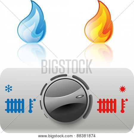 Regulator boiler heating and hot water. Flame icon. Illustration