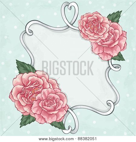 Beautiful roses frame card
