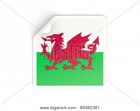 Square Sticker With Flag Of Wales