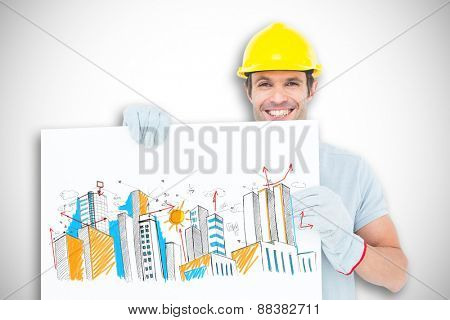 Happy architect with bill board over white background against white background with vignette