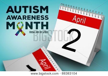 autism awareness month against blue vignette background
