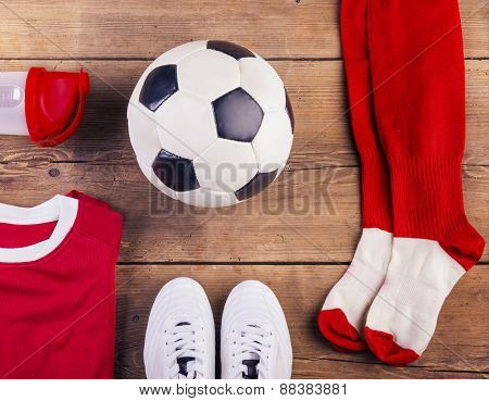 Football stuff on the floor