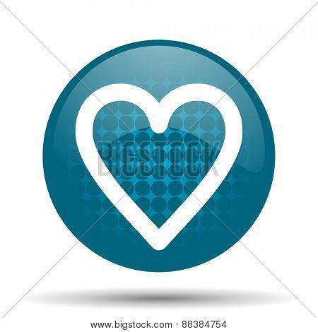 heart blue glossy web icon