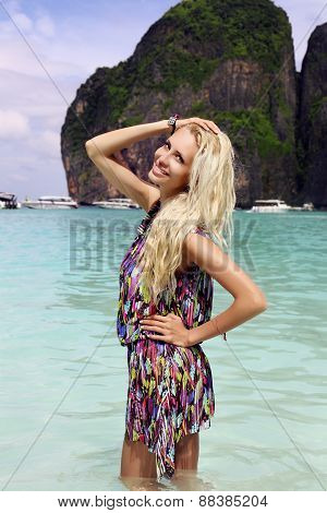 Sexy Woman With Blond Hair Posing At Beach Of Phi Phi Island