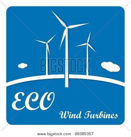 Ecology poster or flyer with wind turbines on blue background infographics menu options.
