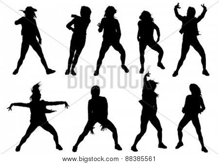 Danser girl in rap style on white background