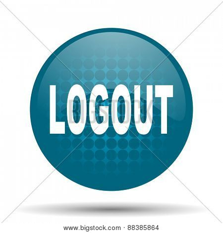 logout blue glossy web icon