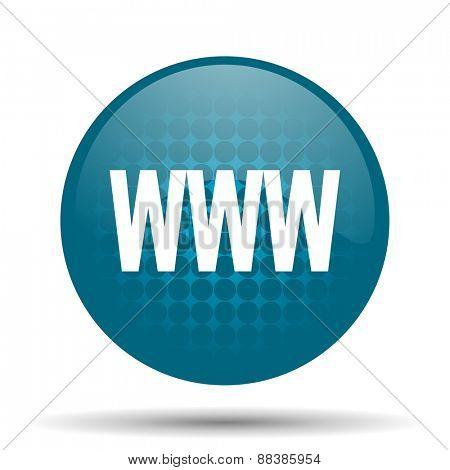 www blue glossy web icon